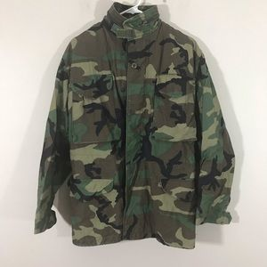 Military camo jacket with zipper hood sz XS
